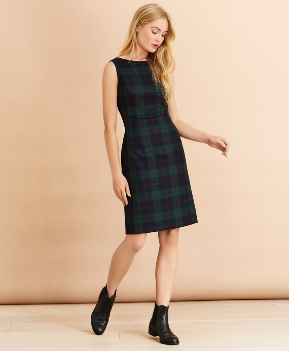 Tartan Wool-Blend A-Line Dress Navy-Green