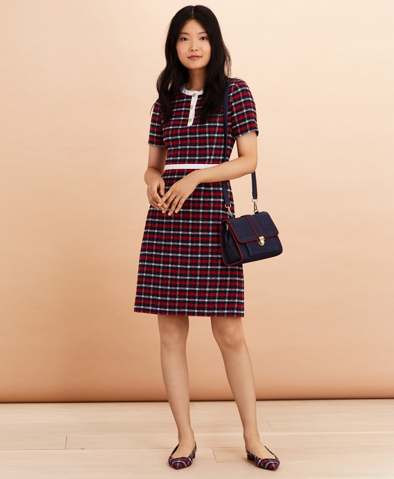 Checked Boucle A-Line Dress Navy-Red