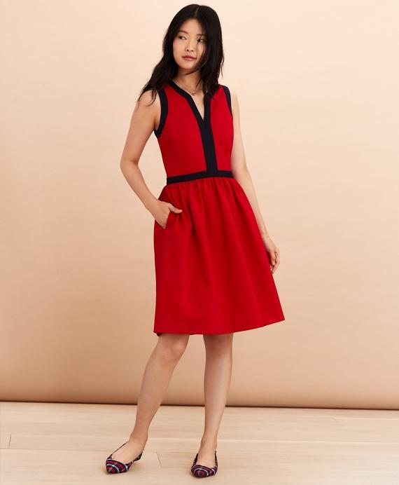 Ponte Knit A-Line Dress Red