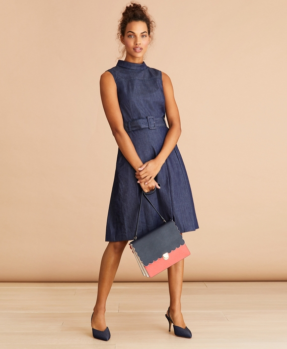 Denim Pleated Dress Blue