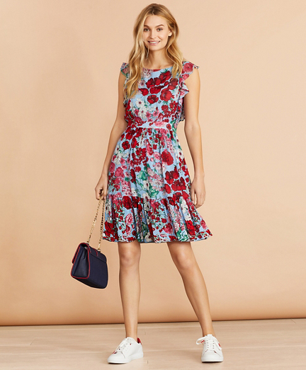 Floral-Print Flounced Dress