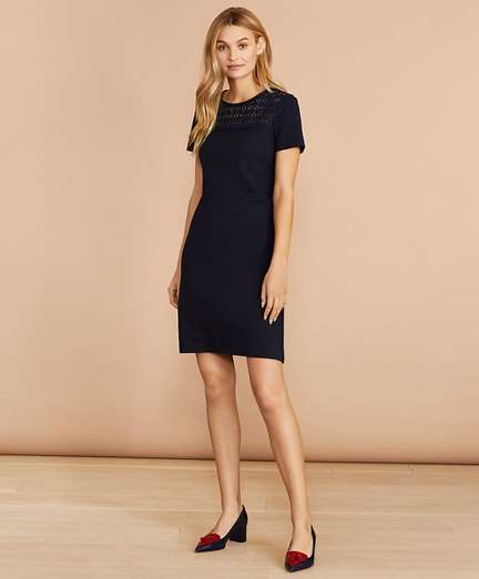 Eyelet-Yoke Ponte Knit Dress