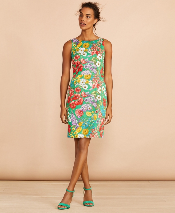 Floral-Print Stretch Cotton Sateen Sheath Dress Green-Multi