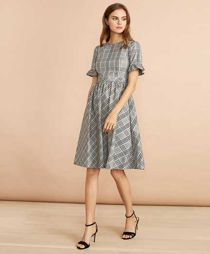 Tartan Ruffled Elbow-Sleeve Dress