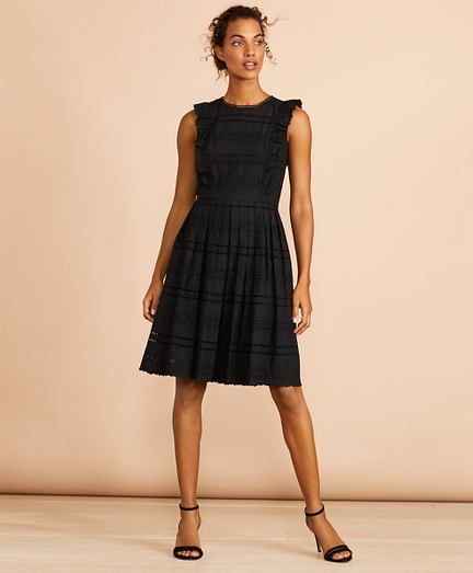 Ruffled Cotton Eyelet Dress