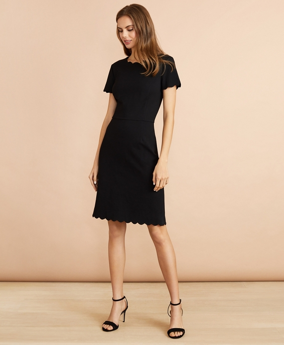 Ponte-Knit Scalloped Dress Black