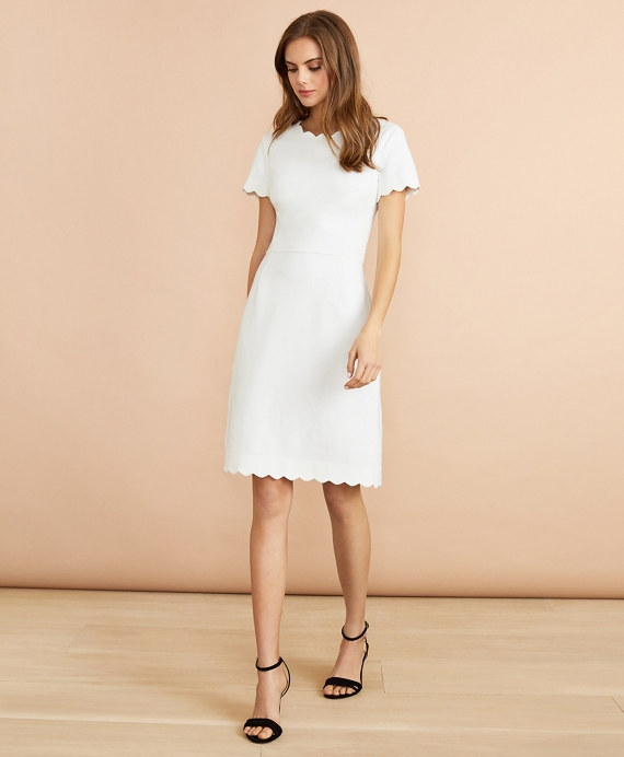 Ponte-Knit Scalloped Dress White