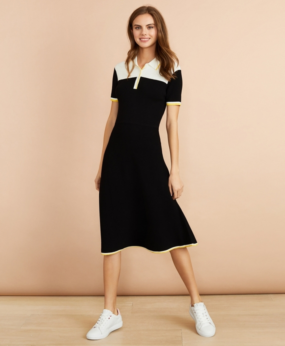 Color-Block Knit Polo Dress Black-Multi