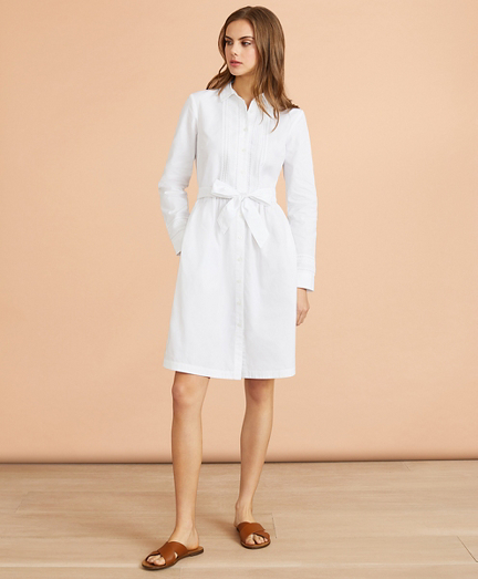 Eyelet-Trim Cotton Poplin Shirt Dress