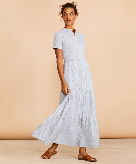 Striped Cotton Dobby Maxi Dress