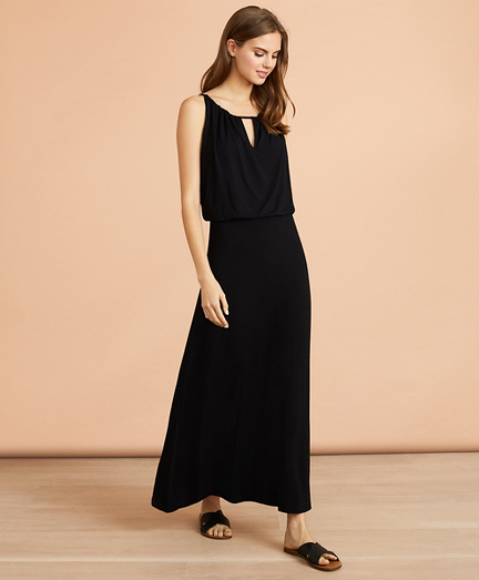 Keyhole-Neck Jersey Maxi Dress