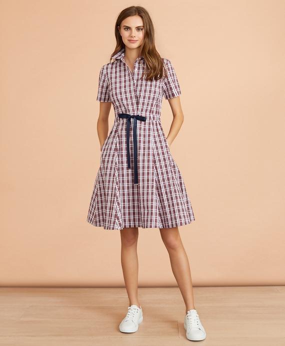 Plaid Cotton Seersucker Shirt Dress Brooks Brothers
