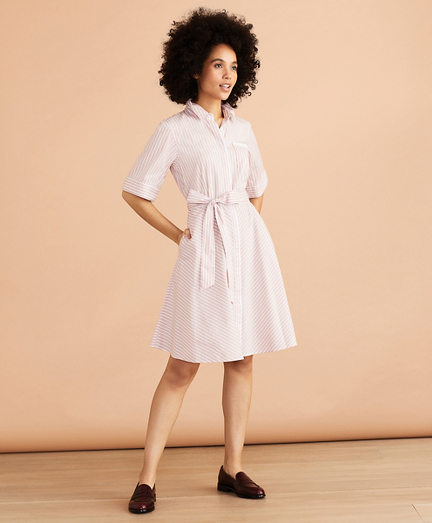 Striped Cotton Poplin Elbow-Sleeve Shirt Dress