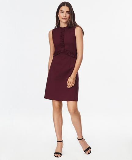 Ruffle-Trimmed Ponte Knit Dress