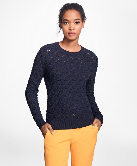Supima® Cotton Pointelle Sweater Navy