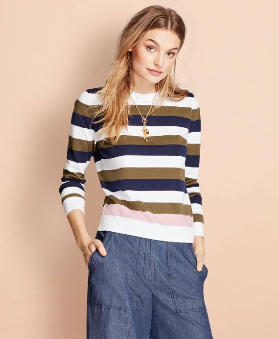 Striped Cotton Sweater White-Multi