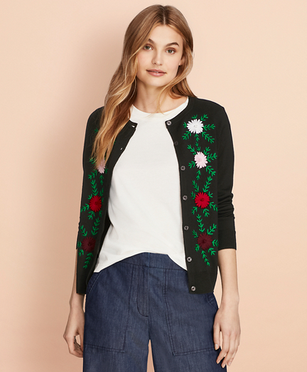 Floral-Embroidered Merino Wool Cardigan