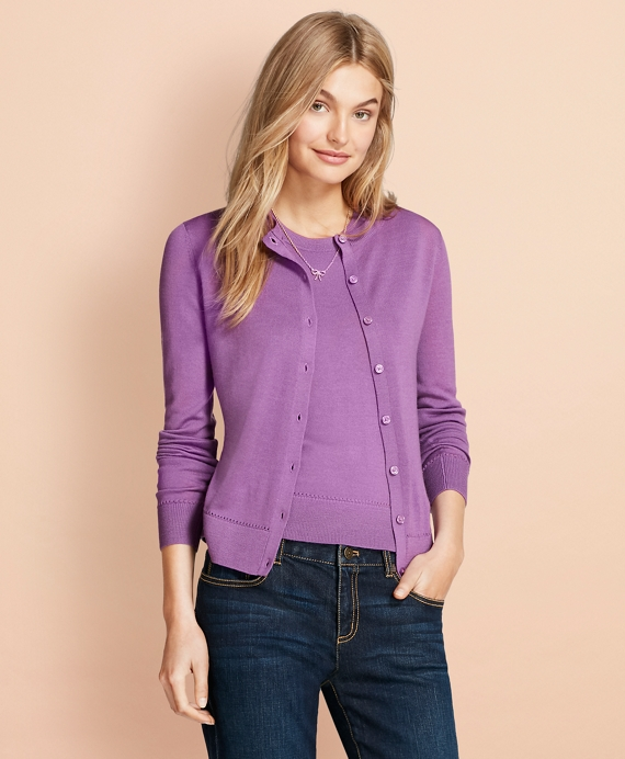Merino Wool Cardigan Purple
