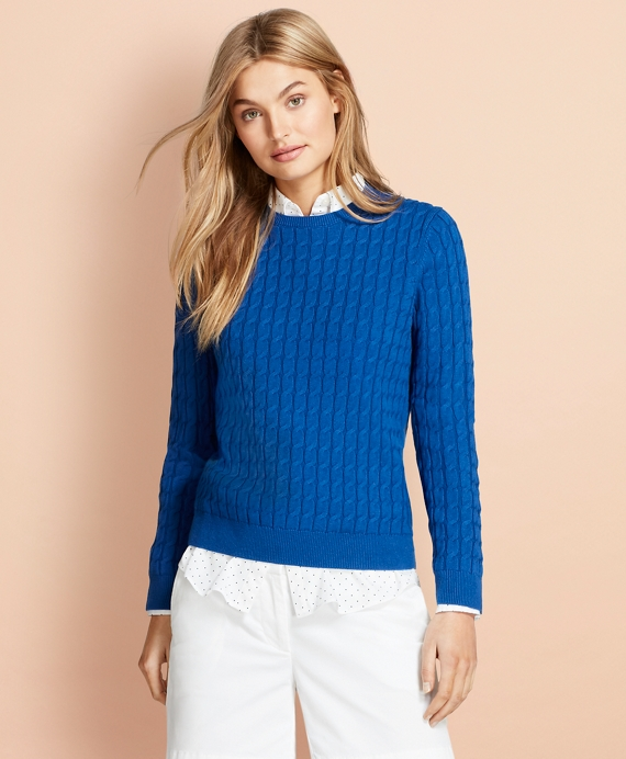 Cable-Knit Cotton-Cashmere Sweater Blue