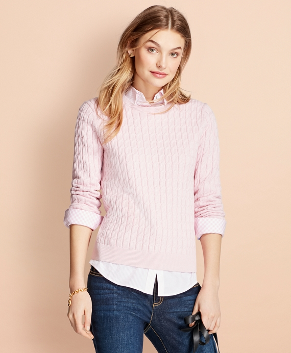 Cable-Knit Cotton-Cashmere Sweater Light Pink