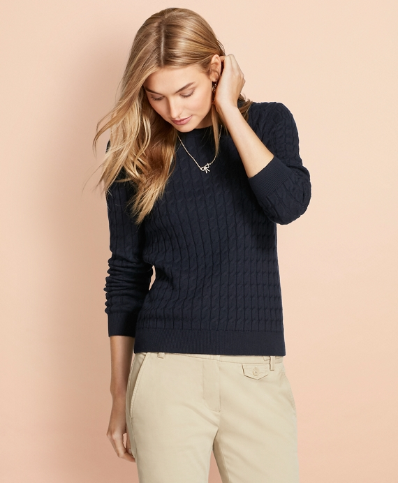 Cable-Knit Cotton-Cashmere Sweater Navy