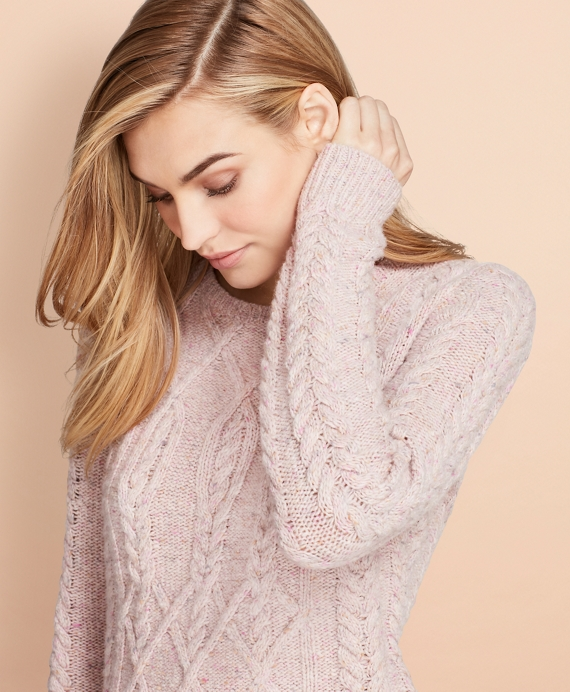 Cable-Knit Alpaca-Wool-Blend Sweater Pink