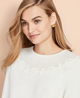 Floral Applique Merino Wool Sweater