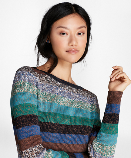 Shimmer-Stripe Rib-Knit Sweater