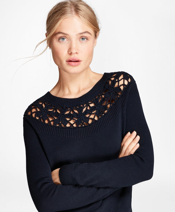 Crochet-Yoke Cotton Sweater Navy