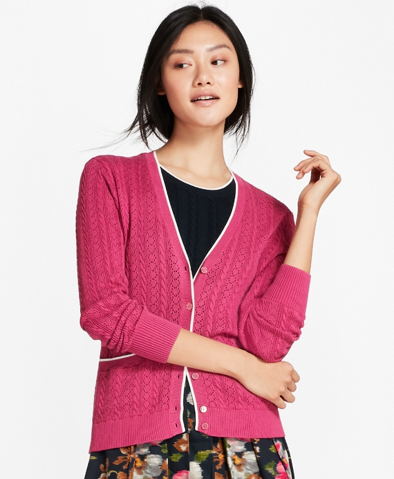 Cotton Pointelle Cardigan Pink