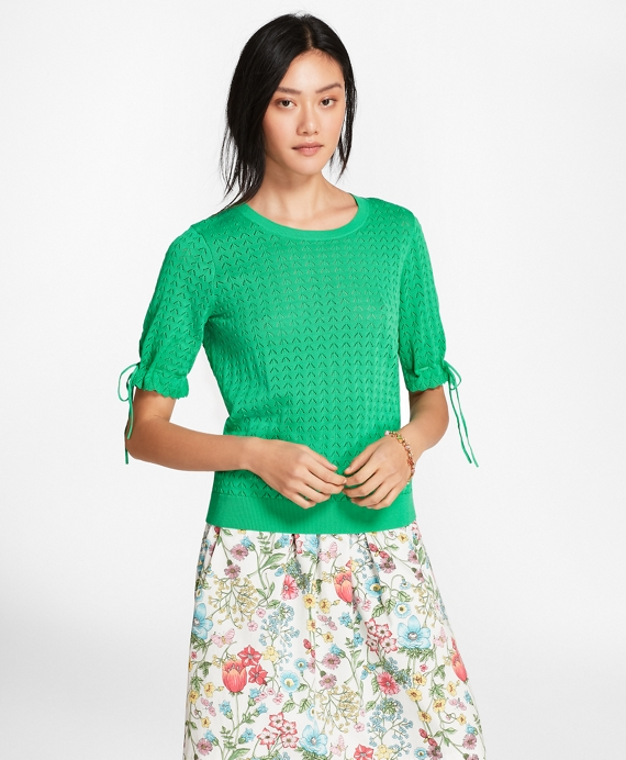 Elbow-Sleeve Cotton Pointelle Sweater Green