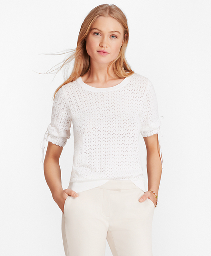 Elbow-Sleeve Cotton Pointelle Sweater