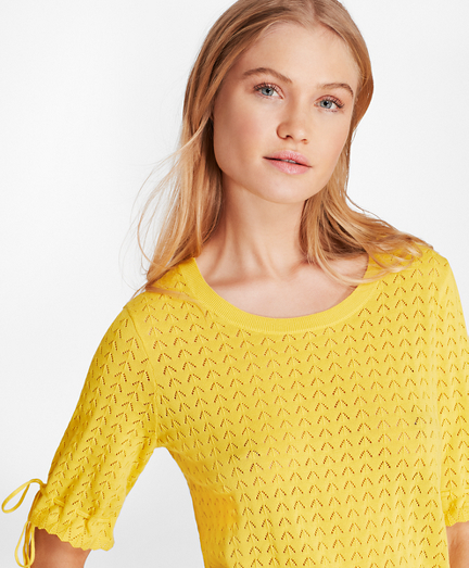 Elbow-Sleeve Cotton Pointelle Sweater