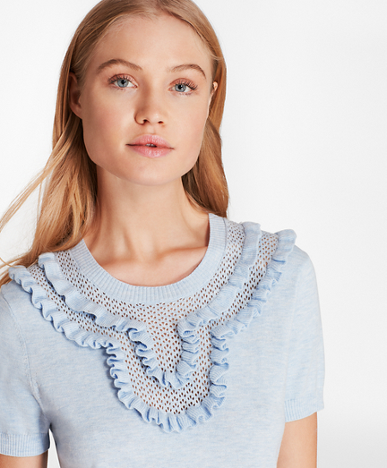 Ruffled Pointelle-Yoke Sweater