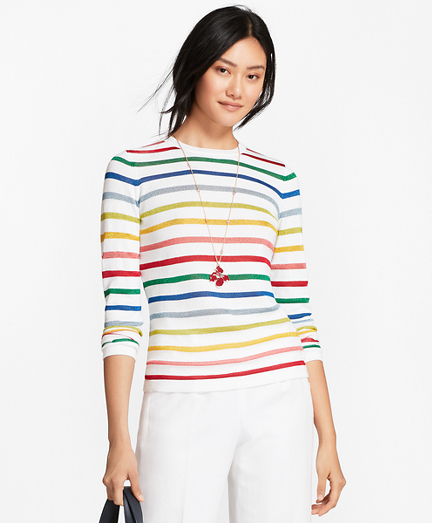 Shimmer-Stripe Sweater