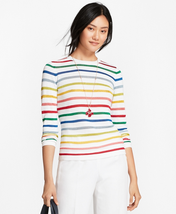 Shimmer-Stripe Sweater Multi