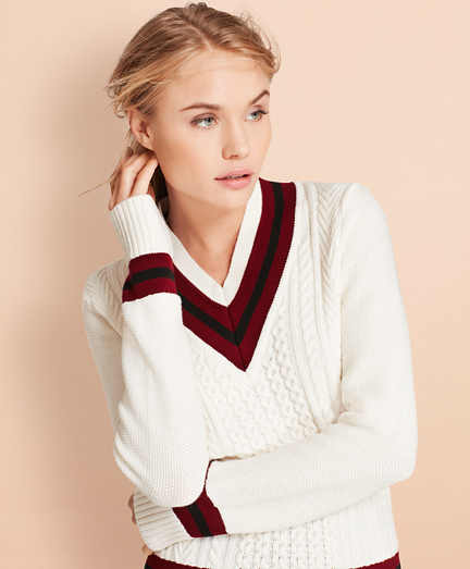 Merino Wool-Cotton Tennis Sweater