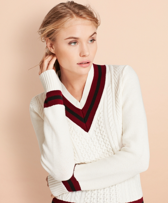 Merino Wool Cotton Tennis Sweater by Brooks Brothers