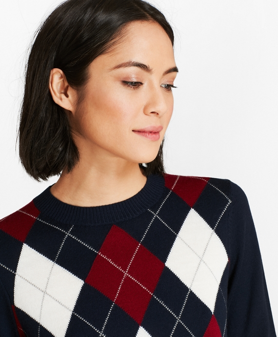 Merino Wool Argyle Sweater Navy-Multi