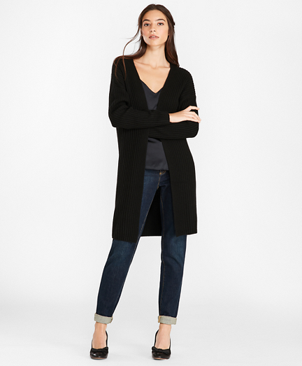 Wool-Blend Drop-Shoulder Duster Cardigan