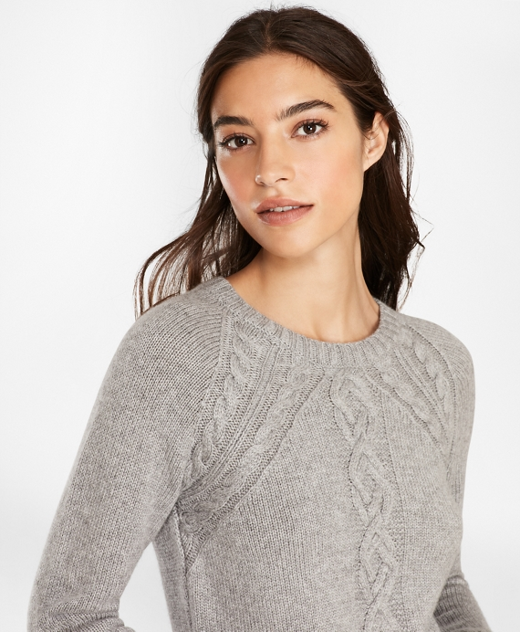 Wool-Blend Cable-Knit Raglan Sleeve Sweater Grey