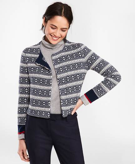 Fair Isle Stretch Wool Knit Jacket