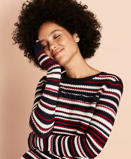 Striped Pointelle Cotton Sweater