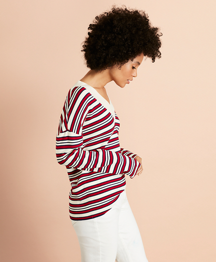 Striped V-Neck Oversized Sweater