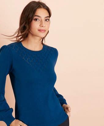 Wool-Cotton Pointelle-Detail Sweater