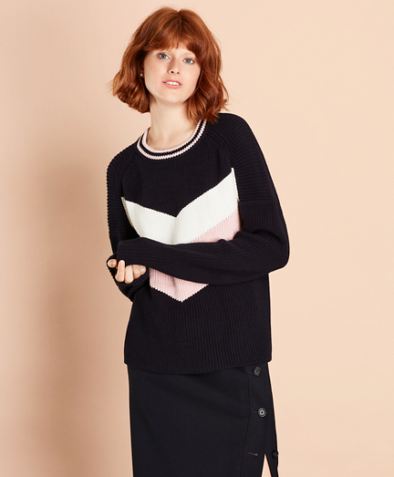 Chevron-Patterned Cotton Sweater