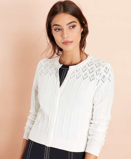 Cotton Cable-Pointelle Cropped Cardigan