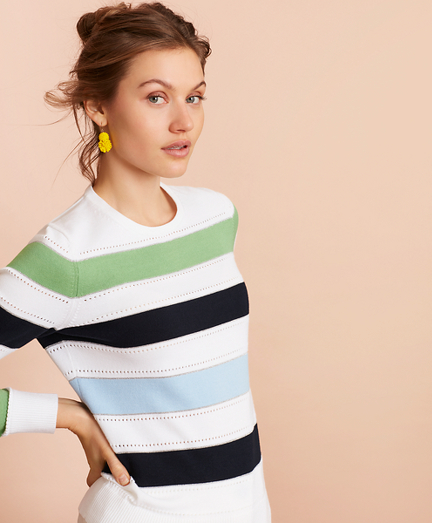 Pointelle-Detail Striped Sweater