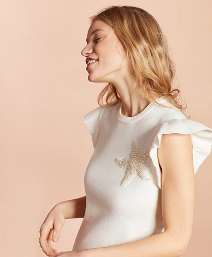 Starfish-Beaded Cotton Flutter-Sleeve Sweater