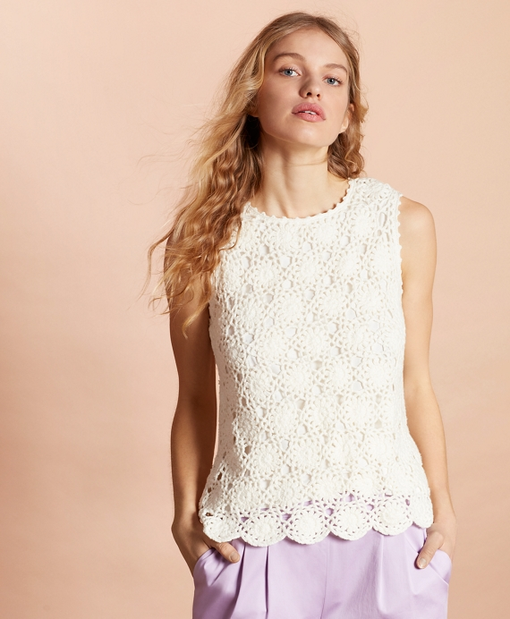Cotton Crochet Lace Top by Brooks Brothers